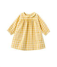 Robe bébé fille en tubique vichy col rond jaune Nectar / beige Coquille - Petit Bateau