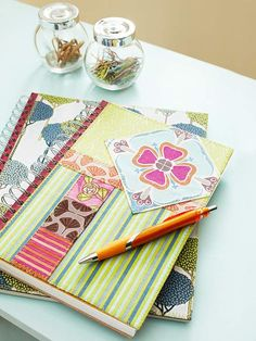 Camouflage the cover of a plain-Jane spiral notebook with fabric scraps to make a noteworthy custom journal.