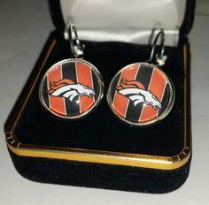 Denver Football Earrings Shiny silver, French lever backs, 16 mm. glass…