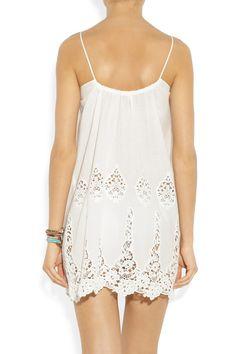 Miguelina|Anna embroidered lace-trimmed cotton mini dress|NET-A-PORTER.COM medium