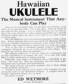 This terrific ukulele ad appeared in The Colville examiner on August Alice Kim, Hawaiian Ukulele, Library Of Congress, Musical Instruments, Musicals, Songs, Canning, 5 Image, Inventors