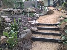 Old railway sleeper steps