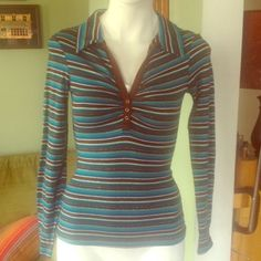 """Selling this """"Blue brown & white striped long-sleeve shirt"""" in my Poshmark closet! My username is: rxdaughtet. #shopmycloset #poshmark #fashion #shopping #style #forsale #Tops"""
