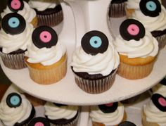 fifties  poodle skirt cupcakes | For activities we played a fifties trivia game, had a hoola hoop ...