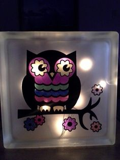 Owl Glass Block with led lights