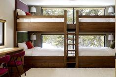 A Modern Winter Retreat | California Home + Design.  Love the winter cabin bunk bed design.