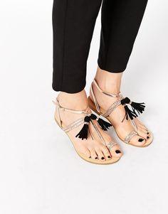 Image 1 ofGlamorous Toe Post Tassel Flat Sandals