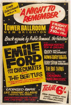 Beatles - Emile Ford And The Checkmates - Gerry And The Pacemakers - Howie Casey And The Seniors - Rory Storm And The Hurricanes - Big Three Beatles Poster, The Beatles, Vintage Concert Posters, Vintage Posters, Gerry And The Pacemakers, Cinema Posters, Music Posters, Event Posters, Music Maniac