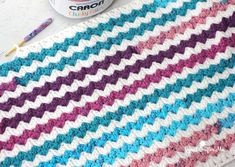 Caron Chunky Cakes Crochet Cluster V-Stitch Blanket - Repeat Crafter Me