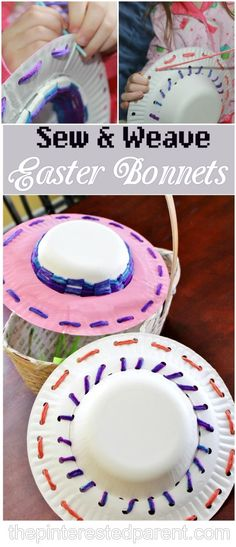 Sew & Weave Easter Bonnets - A fun & adorable fine motor craft & activity for the kids