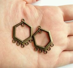 Chandelier earring components antiqued brass triangle 3 drop chandelier earring components antiqued brass hexagon 5 drop 31mm x 21mm 10pcs mozeypictures Gallery