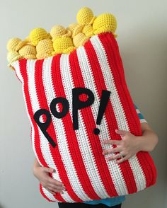 Extra Large Crochet Popcorn Food Floor Pillow by OliviaLawsArt