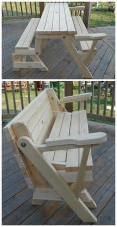 bench that turns into a picnic table plans 1 piece folding picnic table plans CDWYWDU « Decor Diy Best Outdoor Furniture Plans, Outdoor Garden Furniture, Diy Furniture Projects, Diy Wood Projects, Outdoor Decor, Furniture Design, Folding Picnic Table Plans, Diy Picnic Table, Deck Table
