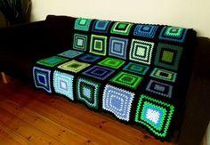 Crochet Blanket Crochet Afghan Blue Blanket Green by PhoenixSmiles