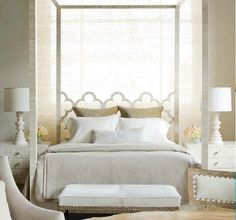 Beautiful bedroom.  Especially loving the lamps, side tables, and bench!