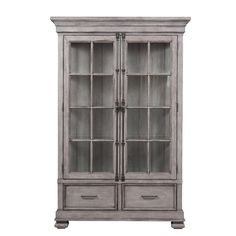 Buy the Delacora Weathered Gray Direct. Shop for the Delacora Weathered Gray Prospect Hill Wide Hardwood Cabinet with Glass Door Panels and save. Hutch Cabinet, Glass Cabinet Doors, Glass Shelves, Glass Door, Tall Cabinet Storage, Curio Cabinets, Display Cabinets, Cabinet Makeover, Bathroom Cabinets