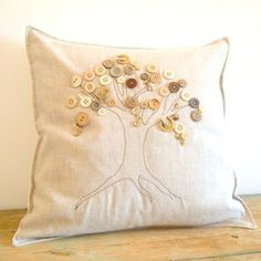 button tree pillow cover