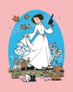 I've seen alot of art recently portraying leia as a cutesy, girly disney princess. But I beleive this is my favorite. The animals just make it better.