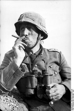 GD Officer smoking a cigar in Russia 1943