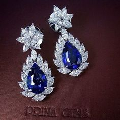 Natural Blue Sapphire Earrings by PRIMA GEMS.