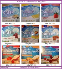 Aldi Greek style yogurt Syns slimming world Slimming World Syns List, Slimming World Shopping List, Slimming World Syn Values, Slimming World Desserts, Slimming World Dinners, Slimming World Recipes Syn Free, Slimming World Plan, Slimming Eats, Slimmers World Recipes