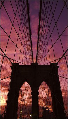 One of the two towers of the Brooklyn Bridge in New York