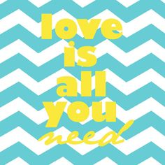Love Is All You Need Beatles aqua and yellow by westeightythird, $11.00