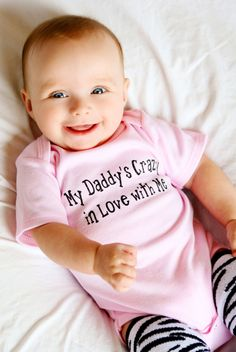 """Fathers Day Onesie- Surprise Daddy with our """"My Daddy's Crazy in Love with Me"""" onesie and bring a huge smile to his face! by LittleAdamandEve on Etsy"""
