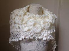 Wedding Shawl in White Wedding Shrugs Bride Scarf by Yellowcrochet