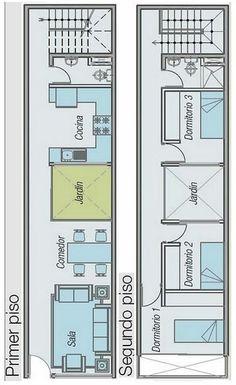 Casa pequena de 2 quartos e jardim interior