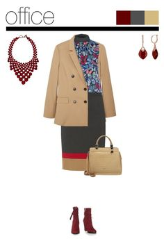Office outfit: Camel - Burgundy by downtownblues on Polyvore #officewear