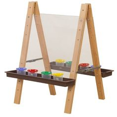 Easel, Double Sided Art Easel for Toddlers with Acrylic Art Surface and Brown Trays Kids Art Easel, Diy Easel, Wooden Easel, Wooden Diy, Modern Kids Paint, Modern Art, Acrylic Panels, Acrylic Art, Woodworking Tools For Sale