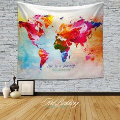 TAPESTRY Quote wall Tapestries world map watercolor by ArtBedding