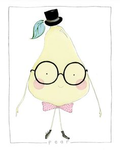 Flight of Carousels Etsy Shop! Mr. Pear - Fruit Character Art Print, Watercolor