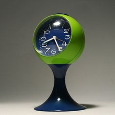 Plastic mechanical ball clock, West Germany, 1970, by Blessing.