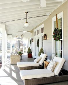 Applying Pendant Light in Front Porch : Cozy Front Porch Design With Lounge Chairs Using White Pads And Cushions Combine With Cream Siding Wall And Glass Windows Also Semi Flush White Pendant Light