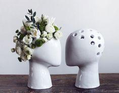 wig, tania da cruz, head shaped planters, chia pet, ceramic vase, floral art, green design, eco design, sustainable design