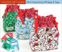 Sewing Gifts Mini Drawstring Gift Bags with Colorful Gift Tags: Holiday Gift Guide Christmas Gift Bags, Christmas Sewing, Holiday Gifts, Christmas Ideas, Christmas Fabric, Christmas Wrapping, Christmas Recipes, Christmas Crafts, Xmas