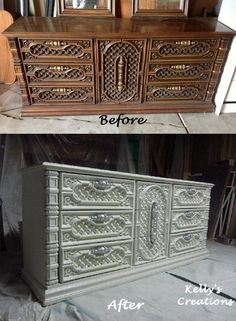 Fancy Detailed Dresser Painted In A Creamy White With Silver Handles