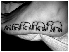 elephant tattoo. One for each member added to your family Perfect for the five of us! Elephant Tattoo Meaning, Elephant Tattoos, Elephant Tattoo Design, Animal Tattoos, Scar Cover Up, Tattoo Designs And Meanings, Tattoos With Meaning, Cool Tattoos, Baby Tattoos