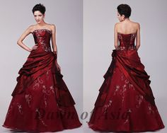 Red wedding dress  plus size ball gown / red bridal by DawnofAsia, $198.00
