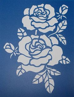 Illustration of three stylized pale roses isolated on light background, vector illustration vector art, clipart and stock vectors. Stencil Fabric, Stencil Material, Stencil Patterns, Drawing Stencils, Stencil Painting, Fabric Painting, Rosa Stencil, Fond Design, Beautiful Flower Drawings
