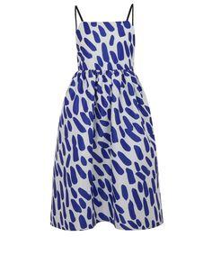 EDIT Blue Satin Paintbrush Dress | Womenswear | Liberty.co.uk