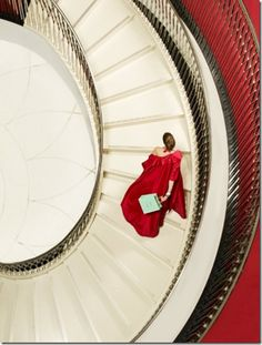 Photographer: © Clive Arrowsmith Title: Fortnum And Mason Staircase Lady in Red Photo Grid, Fortnum And Mason, Take The Stairs, Fashion Advertising, Glamour, Famous Photographers, Shades Of Red, 50 Shades, My Favorite Color