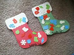 Easy construction paper stockings with foam stickers (200 count dollar tree) great for toddlers!