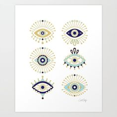 Buy Evil Eye Collection on White Art Print by catcoq. Worldwide shipping available at Society6.com. Just one of millions of high quality products available.