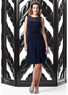 Buy discount Charming Chiffon & Stretch Satin Jewel Neckline Natural Waistline Knee-length A-line Bridesmaid Dress at Dressilyme.com