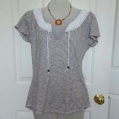 Lucky Brand top Great short sleeve top by Lucky Brand with stripes and crocheted collar.  Cute!! Lucky Brand Tops