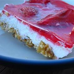 Strawberry Pretzel Salad Allrecipes.com  3/4 c butter, softened  3 tbs brown sugar  2 1/2 c crushed pretzels  6 ounce strawberry flavored Jell-O®  2 c boiling water  3  c strawberries, chilled  8 ounces package cream cheese  1 c white sugar  8 ounce frozen whipped topping, thawed