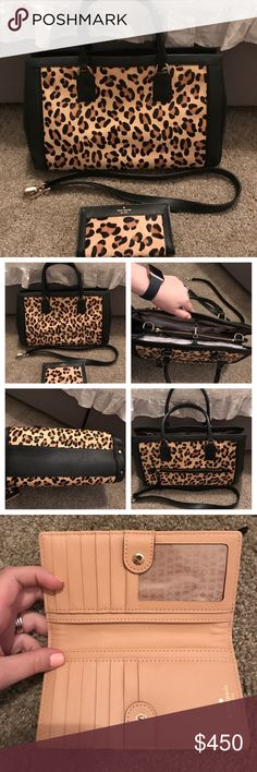 Kate Spade Handbag and Wallet EXCELLENT condition Kate Spade Handbag and Matching Wallet! Gorgeous leather and fur mix! Comes with detachable leather strap! Dust bag will be included. Purse is roughly 9.5 inches in height, 16 inches in length and 6 inches in depth! Wallet is 6.5x4 inches! kate spade Bags